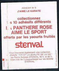 1976 Pink Panther Stenval karate sticker, unused still with backing paper Panthere Rose